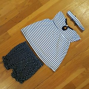 DDG Darlings Dresses - NWT Girl's 3 Piece Headband, Dress & Shorts Outfit